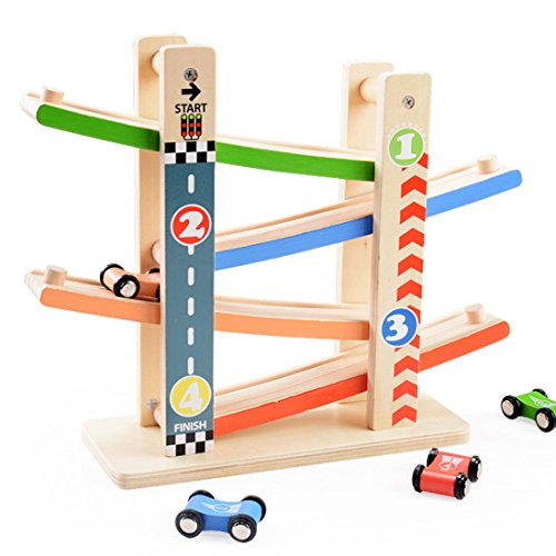 Holz Rollbahn Kinder Spielzeug, Vicoki Kinder Sliding Car Playset mit 4 Rennstrecken Urban Road Pattern