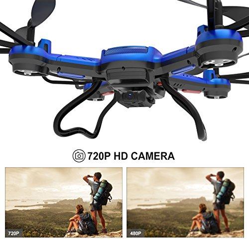 Potensic Drone con Fotocamera 720P HD Drone F181DH FPV LCD Monitore a Schermo con Funzione di Sospensione Altitudine, modalità Senza Testa, Allarme di Fuori Portata - 5