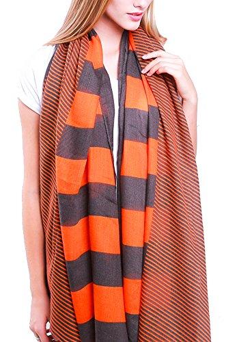 Style Slice Damen Schal One size Gr. One size, Orange / Schwarz (Stripe Schal Bold)