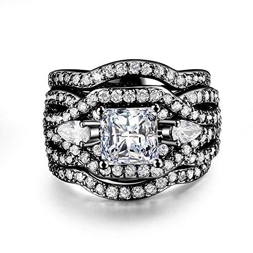 ZUXIANWANG Ring Wedding Ring Set for Women Classic Princess Cut White Cubic Zirconia 3 Ring Set Black Party Gift,10