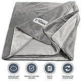 "PetFusion Premium Large Dog Blanket (53x41""). Reversible Gray Micro Plush. [100% soft polyester]"
