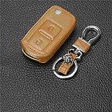JKYIUBG Caso Clave Funda de Cuero para Coche con 2 Botones para VW Volkswagen MK4 Asiento Altea Alhambra Ibiza Transporter Polo