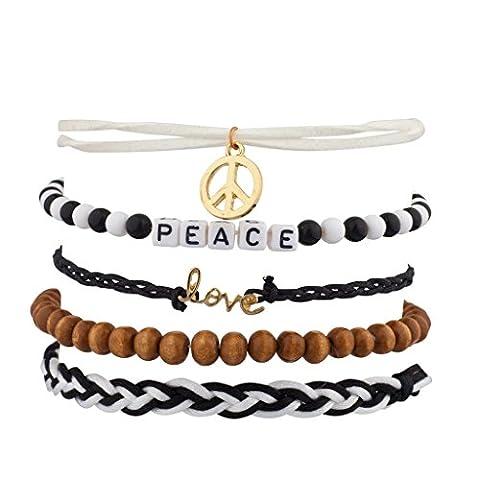 Lux Accessoires Peace Love tissé Bras de perles candy Ensemble bracelet