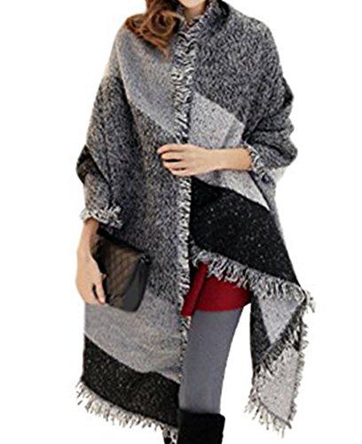 Damen Oversized Herbst Winter Schal klassische Kariert Schal Oversized Schal mit Fransen Grau