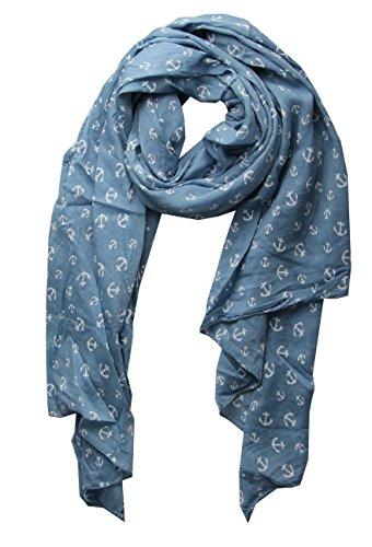 Cashmere Dreams Cashmere Dreams Seiden-Tuch mit Anker Motiv - Hochwertiger Schal für Damen Mädchen - Halstuch - Umschlagstuch - Loop - weicher Schlauchschal für Frühjahr Sommer Herbst und Winter