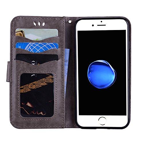 Custodia per iPhone 8 / iPhone 7, ESSTORE-EU Unicorn Design Premium Custodia in PU Pelle con Custodia Innominale Soft TPU, Unicorn Carino con Bling Bling Glitter Charming Scintillante Stella [Oro] Grigio