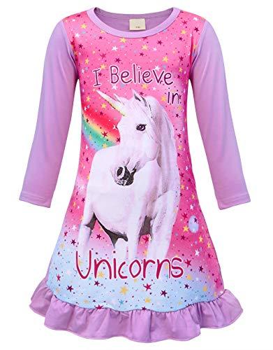 AmzBarley Bambine Ragazze Unicorno Camicie da Notte Ragazza Maniche Lunghe Magra Camicia da Notte Biancheria da Notte Camici da Notte Abiti Vestito