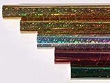 HOLOGRAMMFOLIE, farbig sortiert, 1m x 33cm, selbstklebend 2x gold, je 1x silber, rot, grün