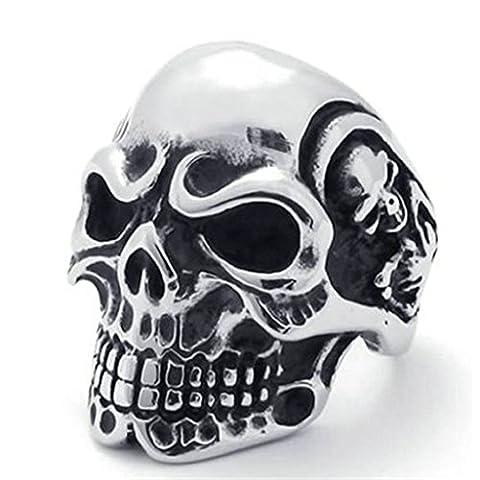 Stainless Steel Ring for Men, Skull Ring Gothic Silver Band