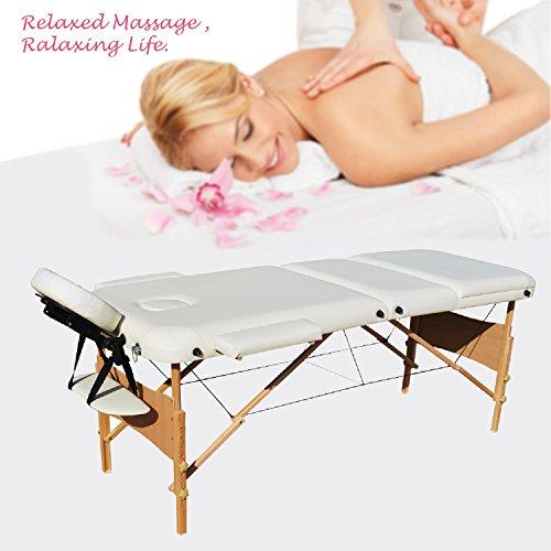 Wellhome 3 zone tavolo da massaggio portatile di legno large xxxl 216 cm tatoo reinserimento massaggio svedese terapista + poggiatesta regolabili + pvc corrimano + 600d portare la borsa (bianco)