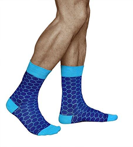 Herren Socken mit Waben Muster, dünn und atmungsaktiv, GEKÄMMTE NATUR BAUMWOLLE, Blau und Türkis, Vitsocks JOY, 43-46 (Socken Casual Muster)