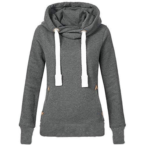 VEMOW Herbst Hoodies Damen Plus Size Langarm Casual Daily Sport Outdoors Freizeit Solid Damen Sweatshirt Kapuzenpullover Tops Shirt Winter Frühling(Grau, EU-38/CN-M)
