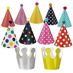 Idea Regalo - MINGZE Cappelli del partito di compleanno del cono dei cappelli, dei bambini e degli adulti di 11PCS, cappello di partito divertente di festa di compleanno del partito di Rave