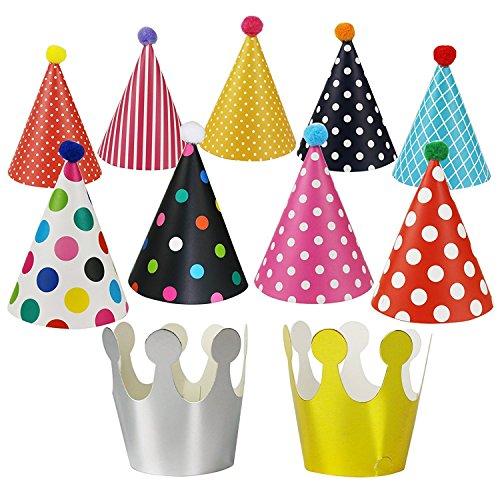 MINGZE Gorros de fiesta 11PCS, sombrero lindo de la fiesta de cumpleaños del cono de los niños y de los adultos, fiesta divertida fiesta de cumpleaños del sombrero del partido