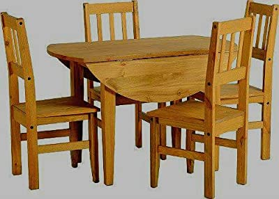 Corona Round Drop Leaf Dining Table & 4 Chairs-Distressed Mexican Pine