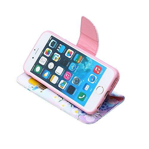 Etche Etui coque pour iPhone 6/6S,Housse en cuir PU pour iPhone 6/6S,portefeuille couvercle de la poche pour iPhone 6/6S,Housse en cuir de cuir flip couverture Wallet téléphone Case avec des fentes de papillon tournesol
