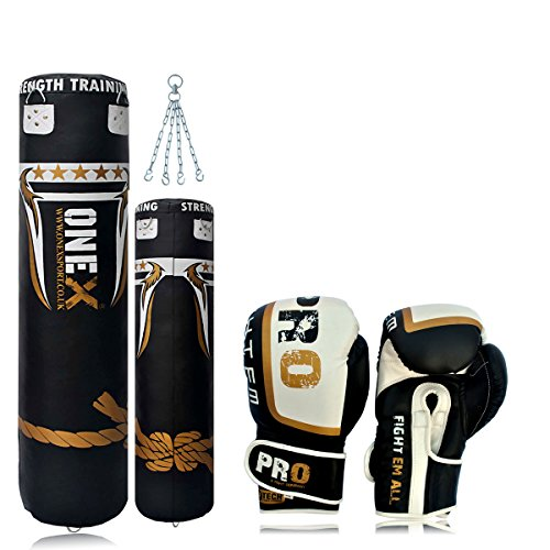 onex-synthetic-leather-4ft-punch-bags-boxing-gloves-10oz-chain-boxing-training-focus-punch-bag