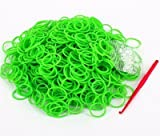 ETHAHE 600pcs Loom Bands Elastiques Vert Clair Bracelet à Tricoter sans Latex avec 24 S-Attaches & 1 Crochet
