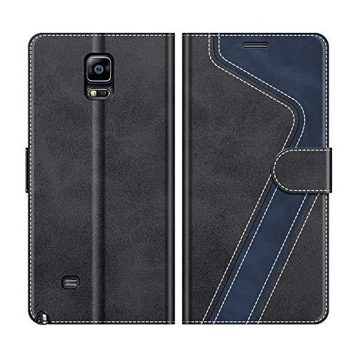 MOBESV Samsung Galaxy Note 4 Hülle Leder, Galaxy Note 4 Tasche Lederhülle Wallet Case Ledertasche Handyhülle Schutzhülle für Samsung Galaxy Note 4, Modisch Schwarz