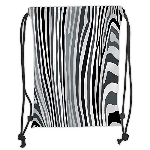 Drawstring Backpacks Bags,Zebra Print,Zebra Pattern Vertical Striped Nature Wildlife Inspired Fashion Illustration,Black White Soft Satin,5 Liter Capacity,Adjustable String Closure -