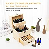Ätherische Öle Box,Holz Hochwertige 3-lagige Ölbox Multifunktionale Aufbewahrungsbox Ätherische Ölflaschenbox 58-fach Aufbewahrungsbox Tragbare Ölbox Ölflaschen Aufbewahrungsbox Holzfach 22 x 18,5 x 24 cm