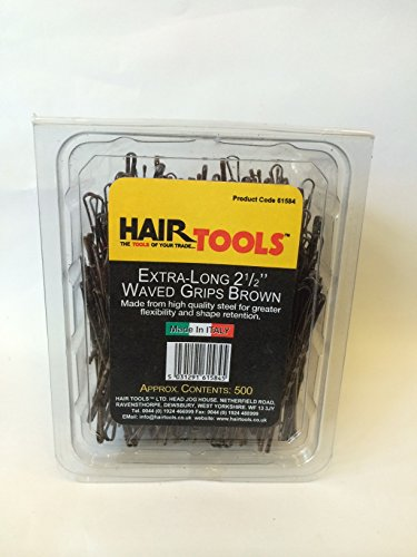 HAIR TOOLS EXTRA-LONG 2 1/2 INCH WAVED BROWN GRIPS 500 BOX by Hair Tools