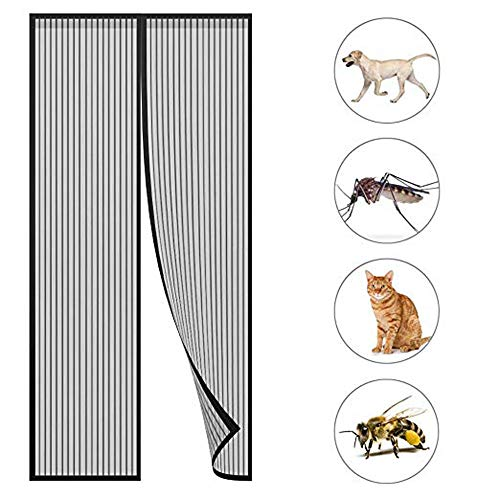 HXPH Magnetic Fly Screen Door Keep Insects Out Mosquito Door Screen Easy to  Install Without Drilling Top-to-Bottom Seal Automatically for Balcony