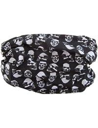 Black White Mini Skulls Pattern Multifunctional Necker Biker Neck Warmer Head Gear