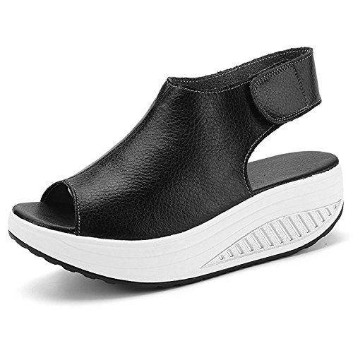 DAFENP Damen Sandalen Wedge Keilabsatz Plateau Leder Sandaletten Peep Toe High Heels Komfort GehenSchuhe (37 EU, Schwarz) (Frauen-schuhe-komfort-heels)