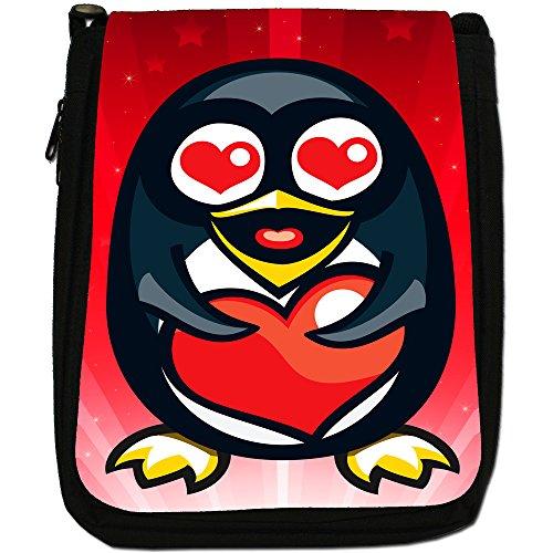 STAR STRUCK Love Animali Medium Nero Borsa In Tela, taglia M Penguin Holding Red Love Heart
