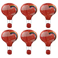 Bigood 6pcs Chinese Floral Foldable Fire Balloon Paper Lanterns Lamp Home Hanging Decorations Party Favors Red-30cm