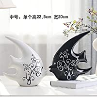 ALILEO Home Furnishing Creative Ceramic Ornaments Jewelry Ornaments Animal Lovers Living Room Cabinet Decoration,Medium Swallow Fish One Pair