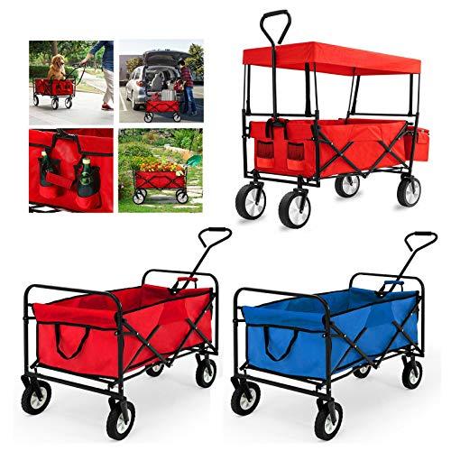 Huini Handwagen Faltbarer Bollerwagen klappbar Gartenanhänger für Ausflüge & Festivals Transportwagen Strandwagen Transportkarre 360°Drehbar (Rot mit Dach)