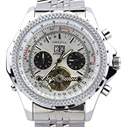 Orkina Silver Case Chronograph Hallow Mechanical Hand-Wind Dial Stainless Steel Wrist Watch KC082SSW