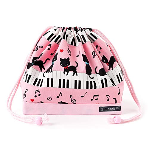 Black Cat Waltz dancing on (medium size) with gusset lunch bag piano drawstring Gokigen lunch (pink) x Ox pink made in Japan N3460200 (japan import)