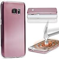 URCOVER Custodia 360 Gradi Metal Look | Samsung Galaxy A5 2015 | Cover Completa Morbida in Due Parti Fronte + Retro | Protezione Integrale 3D Salva Schermo in Rosa dorato