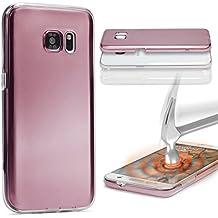 Urcover® Samsung Galaxy S6 Edge Plus | Funda Carcasa 360 Grados Ultra Slim Metálico | TPU en Oro Rosa | Case Cover Protección completa Smartphone Móvil Accesorio