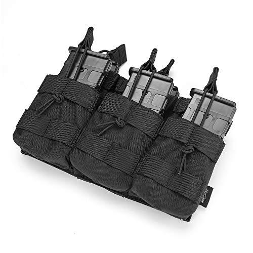 ProCase Oberseite Öffnen DREI Fächer Mag Beutel, Triple Stacker Open Top Taktische Magazintasche mit Bungee-Trägern für AK AR M4 M16 Magazines -Schwarz - Schwarz Stacker