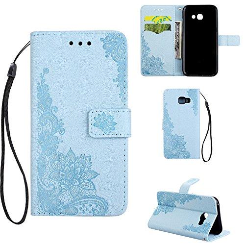 Phenix Blumen Prägemuster Faux Leder Horiontal Folio Stand Case mit Lanyard Card Slots für Samsung Galaxy A3 (2017) ( Color : Black ) Blue