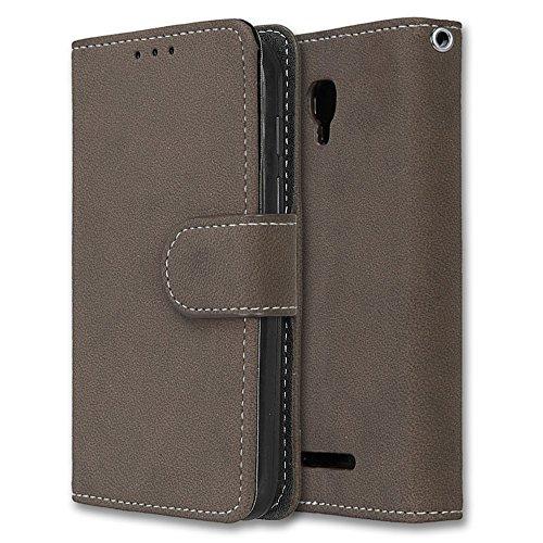 Alcatel Pixi First Hülle, Chreey Matt Leder Tasche Retro Handyhülle Magnet Flip Case mit Kartenfach Geldbörse Schutzhülle Etui [Braun]