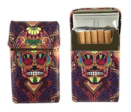 Offre Lagiwa - Etui à paquet de 20 cigarettes couleur au choix avec 1 cadeau bonus (Tissu Skull Orange)