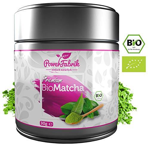 BIO Matcha Tee Pulver | 30g *WINTERAKTION* | Original Grüntee aus JAPAN - zertifiziert in Deutschland | PREMIUM Qualität aus kontrolliertem BIO Anbau | GRATIS REZEPTBUCH | Aroma Metalldose