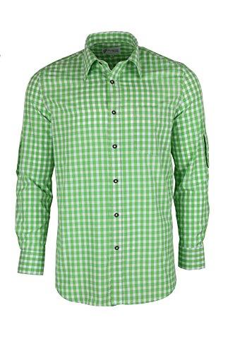 Trachtenhemd kariert in 6 Farben Gr. XS-XXXL mit Krempelärmeln Deutscher Hersteller (XXXL, grün) -