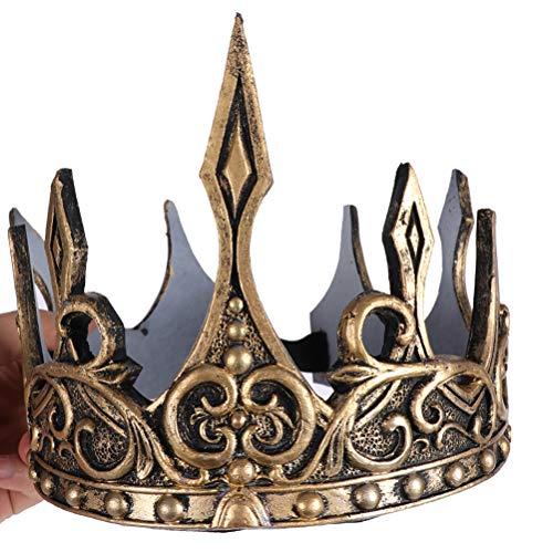 Toyvian Königskrone Mittelalter Herren Krone König Kostüm Zubehör für Karneval Fasching Party Cosplay