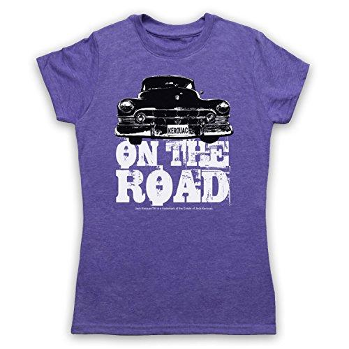 Jack Kerouac On The Road Car Damen T-Shirt Jahrgang Violett