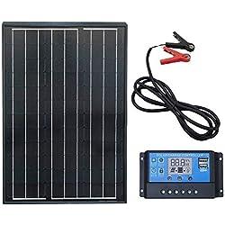 Ecoworthy monocristallin 60W 100 W 12 V Panneaux solaires kit + 20 A contrôleur de charge pour batterie de 12 volts Hors-réseau Système (60W Panneaux solaires kit)