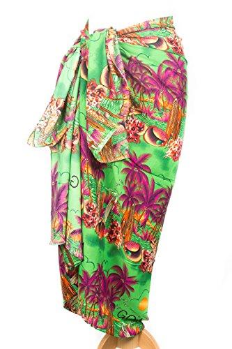 Bunte Damen Beach Sarong Wrap Badebekleidung Chiffon Fisch Palmen Design Verschiedene Farben Styles KD4002 Green
