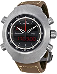 Speedmaster Space Master z-33schwarz Analog-Digital Zifferblatt braun Chronograph Herren-Armbanduhr Leder 32592437901002