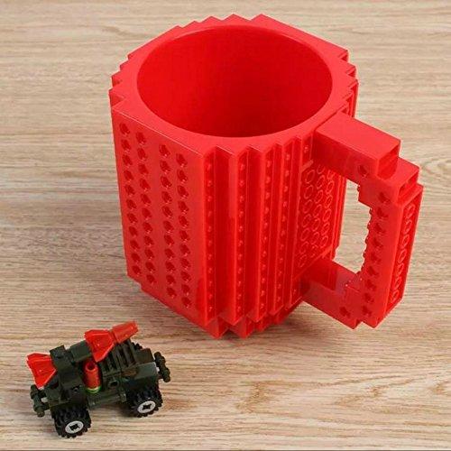build-on Brick Becher Kaffee Tasse DIY Typ Kunststoff Creative Bausteine Kaffee Tee Getränk trinken Funny Geschenk, rot (Build-typ)