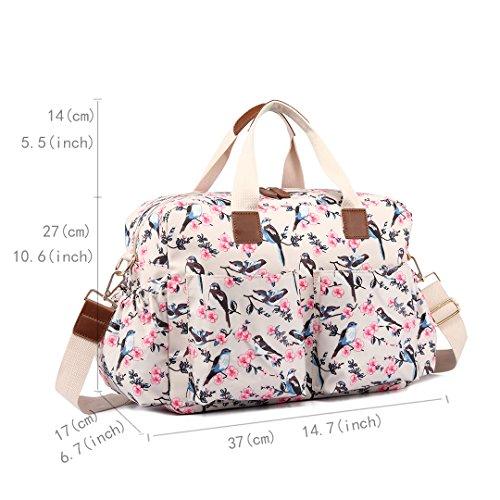 Miss Lulu 4pcs Bird Flower Pattern Pannolino Per Il Bambino Fasciatoio Set Borsa Grande Borsa A Spalla Tote L1501-16j / Grigio